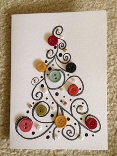 Christmas crafts, winter outfits and other popular ones - DIY Christmas Cards Homemade Christmas Cards, Christmas Art, Christmas Projects, Handmade Christmas, Homemade Cards, Christmas Holidays, Christmas Decorations, Christmas Buttons, Button Christmas Cards