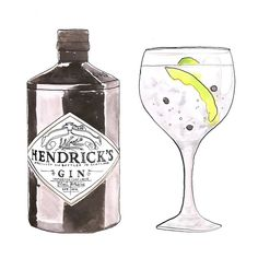 Is it the weekend yet?! #gintonic #fridayfunday #almost #weekend #hendricks #gin #fevertree #tonic #watercolor #illustration #illustrationoftheday #friday #mariebodié #Padgram