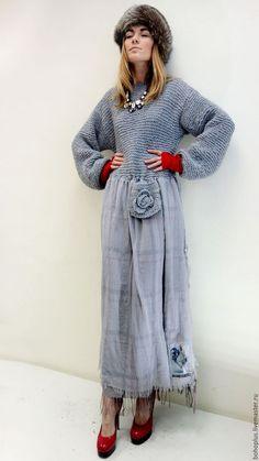 """Платья ручной работы. Ярмарка Мастеров - ручная работа. Купить Платье в стиле бохо """"Белла С12"""". Handmade. Серый, большой размер"""