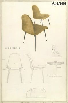 Drawing for a Side Chair from the Museum of Modern Art Organic Design Competition, Designed by Charles Eames and Eero Saarinen, 1940