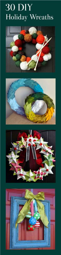 30 Unique Wreaths to Make This Holiday Season | From yarn to felt to candy canes to corks to PVC pipe, let your creative side shine with this inspired round up of DIY wreaths! Perfect for holiday decorating indoors and out. #crafts