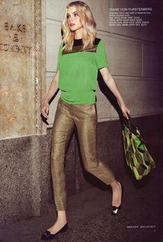 Diana von Furstenberg..great pants! (blouse is too much....green color is great, but without the matching textile on top)
