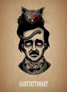 Edgar Allan Poe Blackwork tattoo design dotwork tattoo goth @gabstattooart