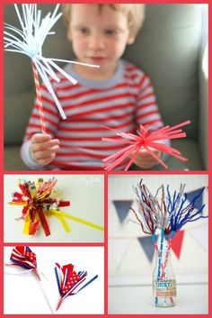 6 really fun, easy, safe 4th of July sparkler crafts for kids.