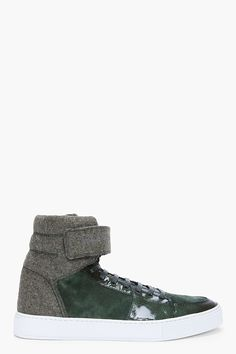 YSL velcro Malibu high-top sneakers in green suede, felt and textured patent leather. 550