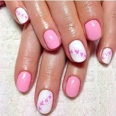 Pink hearts nail Design