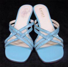 Ralph Lauren Sandals Blue Leather Heels Shoes Womens Size 6.5 M #LaurenRalphLauren #Strappy