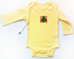 Organic Baby Boy Holiday creeper/ Christmas snap shirt/Organic one piece romper/ Newborn outfit/ Applique's/ Christmas tree . Yellow onesie by JollyBundles on Etsy