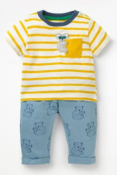 Mini Boden boys pyjama set blue white stripe jersey top bottoms age 2-12 new
