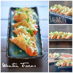 Smoked Salmon Wonton Tacos!  wow!  Can't wait to try these!!  mountainmamacooks.com