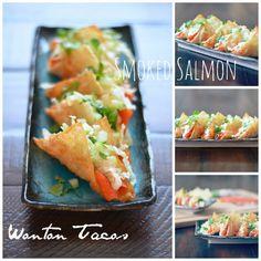 Smoked Salmon Wonton Tacos from Karista's Kitchen | mountainmamacooks.com