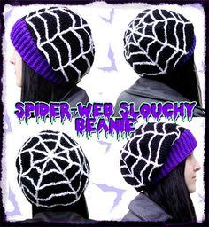 Creepy Spider Web Slouchy Crochet Beanie - Spooky Cobweb Hat - Psychobilly Halloween Headwear - Horror Gothic Winter Hat