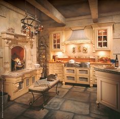 <3all the luscious details within this imaginative kitchen. Not all that practical, maybe, but diff. sparks ones creative imagination for design ~encompassing limitless elements of ultra comfort at every turn...