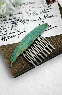 Verdigris Feather Comb. Teal Aqua Feather Hair Comb
