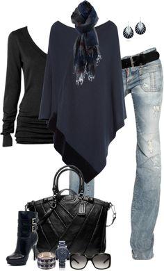 Black lon sleeve v neck t, navy sweater poncho, lt wash destroyed bootcut jeans, navy scarf, black earrings, black leather satchel, black heeled booties, black bracelet, black watch