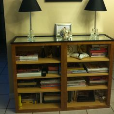 DIY Repurposed Kitchen Cabinets to Bookshelves/ Console  :-)