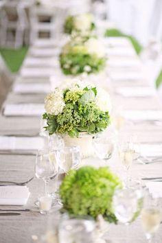 Green table decorations decor wedding Green Wedding theme. For more Green wedding Ideas visit http://www.knotsvilla.com/green-and-white-wedding-inspiration/