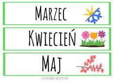 Dzieckiem bądź: Nauka nazw dni tygodnia i miesięcy 1 Logo, Kids Education, Montessori, Diy And Crafts, Kindergarten, Playing Cards, Teaching, How To Plan, Inspiration