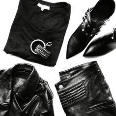 All black flat lay. Iro Paris Tee & Marissa Webb Pants. #flatlay - OVRSLO