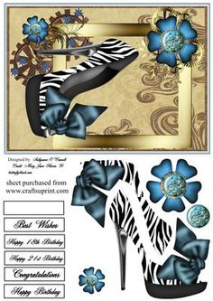 steampunk lady shoe on Craftsuprint designed by Sallyanne O'Connell - A great female birthday card or it can be used for any other occasion. Layer decoupage using silicone or sticky pads onto the main image. Sentiment tags for layering , one is blank for your own greeting - Now available for download!
