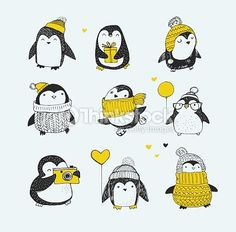 Clipart vectoriel : penguins la main dessiné ensemble-Joyeux Noël cartes de vœux