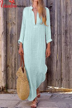 Womens Deep V Neck Side Split Kaftan Maxi Dress Long Sleeve Beach Casual Dresses Short Beach Dresses, Summer Dresses For Women, Casual Summer Maxi Dresses, Long Dresses, Dress Long, Gypsy Dresses, Dress Casual, Blue Dresses, New Trend Dress