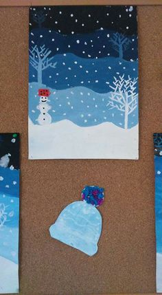 Winter paint project winter crafts for kids, winter art projects, Winter Art Projects, Winter Crafts For Kids, Winter Fun, Art For Kids, Kindergarten Art, Preschool Art, Classe D'art, Doki, 3rd Grade Art