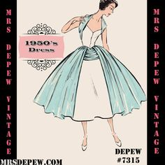 Vintage Sewing Pattern 1950's Cocktail Dress in Any door Mrsdepew