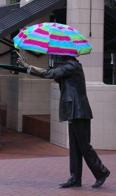 Portland yarn bomb! (For _When It Rains, It Pours_ statue on Main Street?)