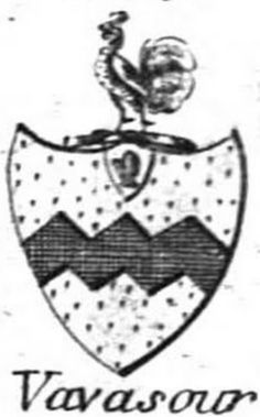 The arms of the Vavasour baronets, from The Baronetage of England by Arthur Collins (1806). Blazon - Or, a fess dancette Sable with an ulster hand in a canton in chief. Crest - A cock gules crested or.