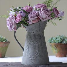 grey slate jug wedding table decorations  How about SAGE, LAVENDER & SLATE COLOUR SCHEME