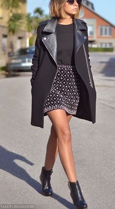 Skirt, leather jacket , boots