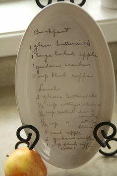 Instant heirlooms: custom ceramic plates fired with handwritten family recipes
