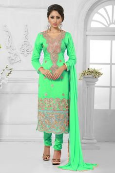 Green Cotton Net Churidar Suit with Chiffon Dupatta Price:- 2,245.00 Green Cotton and Net, semi stictch churidar suit. V neck, Below knee length, full sleeves kameez. Green santoon churidar. Green chiffon dupatta. It is perfect for casual wear, festival wear, party wear and wedding wear wear.  http://www.topkart.in/green-cotton-net-churidar-suit-with-chiffon-dupatta-dmv13541.html