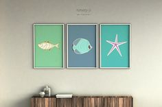 Printable art Digital Downloadsset of 3 fish and starfish
