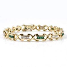 14kt Yellow Gold Diamond And Emerald Bracelet - - Levy's Fine Jewelry - http://levysfinejewelry.com