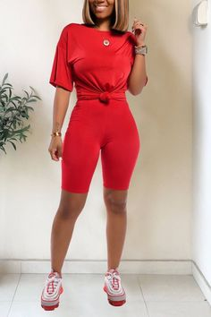 Color Shorts, Red Shorts, Two Piece Short Set, Fall Vest, Adidas Outfit, Hot Outfits, Two Piece Outfit, Casual Tops, Outfit Sets