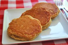 Applesauce Pancakes 2 cups white whole-wheat flour 1 1/2 tablespoons fresh baking powder 1/2 teaspoon salt 2 large eggs, lightly beaten 1 cup reduced-fat milk 2 cups unsweetened applesauce 1/4 cup pure maple syrup 1 tablespoon pure vanilla extract Nonstick cooking spray for frying