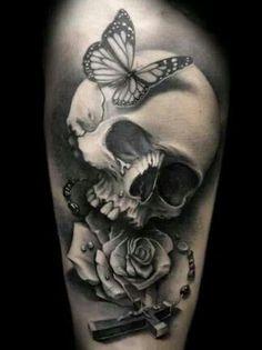 Butterflie skull & rose