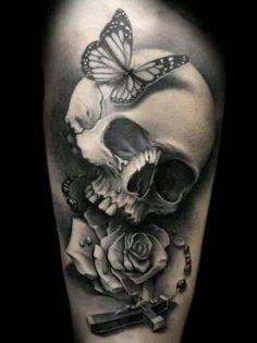 Butterflie skull & rose