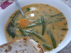 Hungarian green bean soup. I have NOT had this in a decade. Going on the meal list for the week!