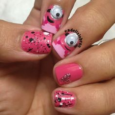 Pink Minions! With bewbies! So cute!! Instagram photo by adelislebron #nail #nails #nailart