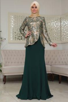 Som Fashion Zümrüt Beyza Tesettür Abiye Elbise