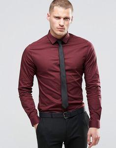 Maroon Dress Shirt Gray Slacks And Black Belt With Two Toned White