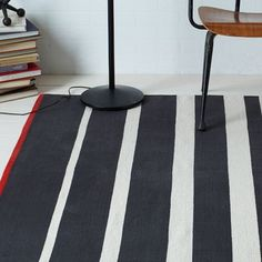Gradated Stripe Cotton Rug - Iron | west elm for boys room