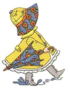 Sunbonnet Sue Months of the Year - April Más Quilt Block Patterns, Applique Patterns, Applique Quilts, Quilt Blocks, Quilting Projects, Quilting Designs, Machine Embroidery Designs, Sunbonnet Sue, Quilt Baby