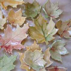 Ceramic Fall Leaves -- set of 5 for candles, tea bags or seasonal decor