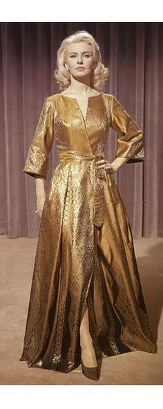 """Joanne Woodward in """"From the Terrace"""", silk brocade hostess gown by William Travilla 1960"""