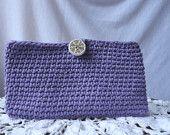 Crochet Clutch Purse Lilac with Mod 60s Vintage Lining Vintage Button Closure
