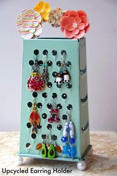 Homemade Earring Holder using an Upcycled Cheese Grater! An inexpensive and eco friendly craft idea with a purpose! #HomemadeHouseDecorations,